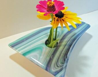 Flower Vase, Large Fused Glass Ikebana Vase - Purple, Turquoise and White Table Vase, Floral Vase, Bud Vase, Rose Vase, Birthday Present