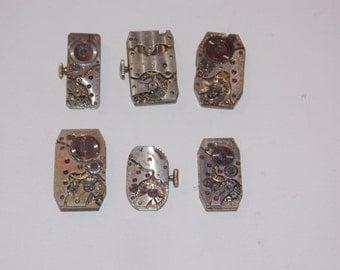 6 Rectangle Jeweled Watch Movements
