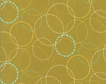 Blue and Yellwo Ring Fabric on Green - Wing & Leaf by Gina Martin from Moda - Fat Quarter