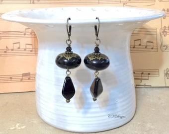 Classic Black Earrings, Vintage Style Drop Earrings, Beaded Pierced or Clip-on Earrings, Vintage Style Drop Earrings, Handmade earrings.