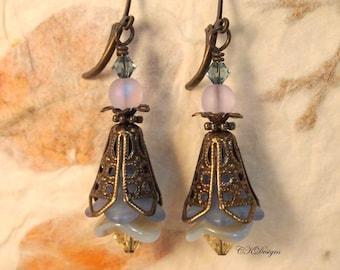 SALE Blue Flower Earrings, Victorian Style Earrings, Vintage Style Pierced or Clip-on Earrings.  Boho, Swarovski OOAK Handmade Earrings.