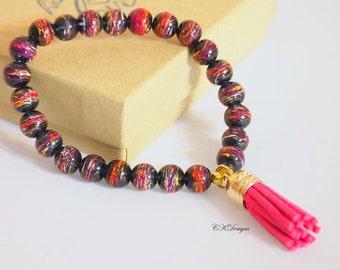 SALE Hot Pink Tassel Beaded Bracelet, Stackable bracelet,  Tassel Beaded Stretchy Bracelet. Gift for Her, OOAK Handmade Bracelet.