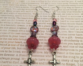 Cross Earrings - OOAK Made With Pink and Purple Czech Crystals Silver Charms Spiritual Jewelry Jesus Christ, Christian Jewelry, Crosses