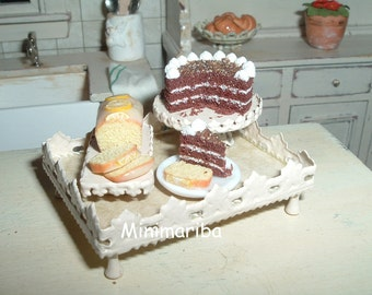 Miniature desserts tray § - dollhouse size