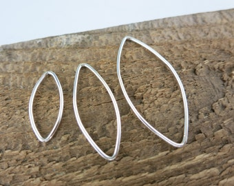 Sterling Silver Marquise Closed Links, 2 Pieces, 20mm,29mm or 36mm Length, 18 Gauge, Sterling Silver Connectors, Geometric Hoops