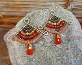 Reserved Listing.  Hammered Artisan Gold Brass Earrings with Wire Wrapped Peach Moonstone, Carnelian, Labradorite and Tribal Brass Gemstones