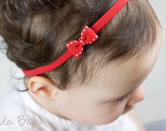 Little Red Baby Bow - Grosgrain Stitched Edge Little Red Bow Handmade Headband - Fits From Babies to Adults