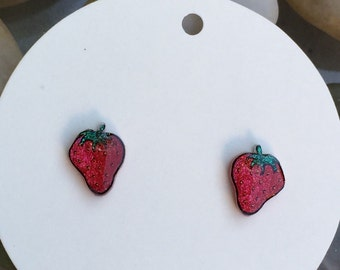 Red strawberry, fruit jewelry, strawberry earrings, food jewelry