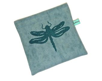 Reusable Snack Bag - Reusable Sandwich Bag - Hand Dyed Hand Printed Dragonfly