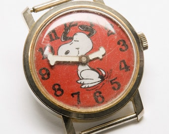 SALE Vintage Snoopy Watch 1968 self winding Dancing Snoopy signed Schulz by United Features Swiss Made