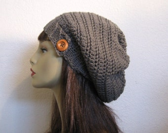 Crochet Gray Slouchy Hat with Button Gray slouch Beanie Gray Slouch Cap Crochet Gray Tam Gray Knit Beanie Gray Tam Crochet Hat with Button