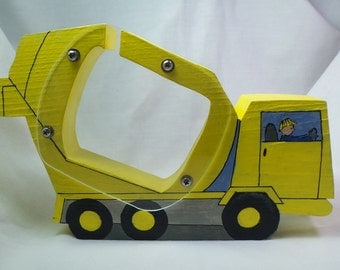 Yellow Cement Truck Wooden Coin Bank-Personalized Fre
