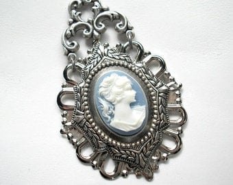 Blue and White Antiqued Silver Cameo Pendant