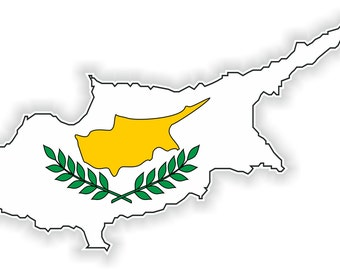 Cyprus Map Flag Silhouette Sticker for Laptop Book Fridge Guitar Motorcycle Helmet ToolBox Door PC Boat