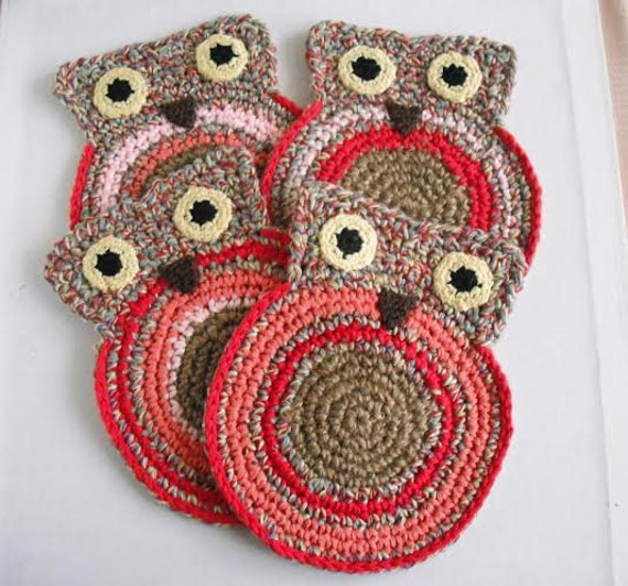 jute twine set of 4 coasters. Owl. cotton eco-friendly. earth friendly gift hand crocheted original design