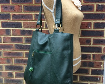 Recycled leather bag - Forest Green soft leather bag- saddle style-tote-shopper- zip pocket.