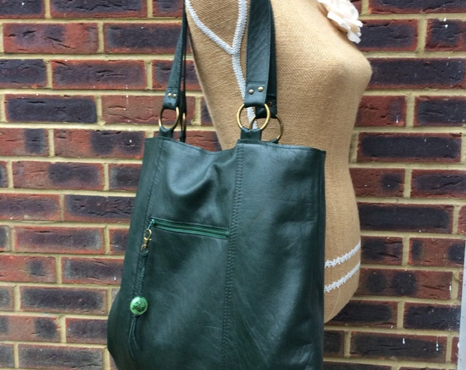 Recycled leather bag - Forest Green soft leather bag- saddle style-tote-shopper- zip pocket.Get 30% off see details.