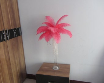 100pcs Coral red/Pale Red  ostrich feather for wedding table centerpiece wedding table decoration
