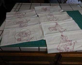 Vintage Days of the Week Embroidered Cotton Kitchen Dish TOWELS with COWS - Set of 7 Dishtowels with Red Hand Embroidery