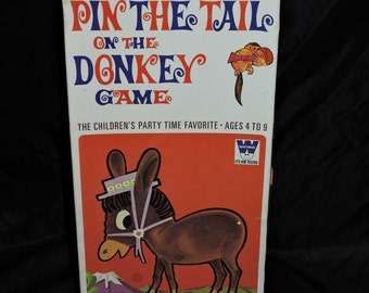 Vintage 1970 Pin The Tail On The Donkey Game Whitman Kids Birthday Party Game Unused