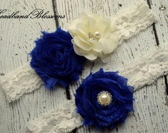 ROYAL BLUE Bridal Garter Set - Ivory Keepsake & Toss Wedding Garters - Chiffon Flower Rhinestone Garters - Cobalt - Prom