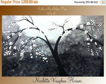 Sale Sale  Original Huge 4ft x3ft  mixed media,impasto  tree  painting on canvas by Nicolette Vaughan Horner