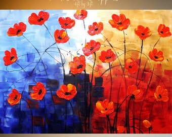 "HUGE 48x36 Oil Landscape painting Abstract Original Modern palette knife "" Musical Poppies"" impasto painting by Nicolette Vaughan Horner"