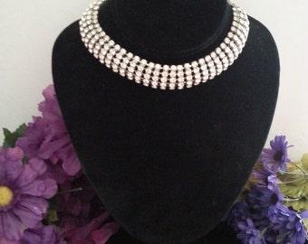 Now On Sale Rhinestone Choker Necklace * Vintage Jewelry * Mad Men Mod * 1950s 1960s Retro Rockabilly Jewelry * Bridal Jewelry