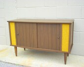 Mid Century Modern Record Player Cabinet Storage Console - Tapered Peg Legs and Sliding Doors - Double Wide
