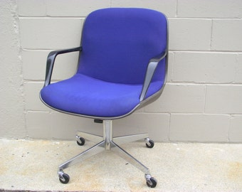 Pollock Knoll Style Office Chair in Blue Mid Century - With Arms - Rolls - Spins - Tilts - Swivels - American retro Chrome