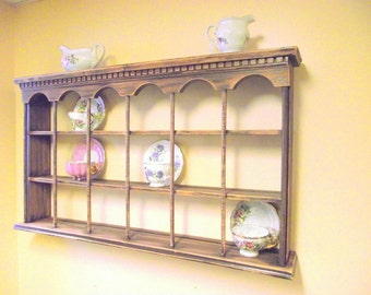 Wood Teacup Tea Cup & Saucer Shelf Beautifully Distressed Curio Wall 3 Tier Display - Country Chic - BIG - Holds 18 Cups / Saucers Plates