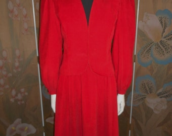 Vintage 1980's The Villager Red Corduroy Suit - Size 10