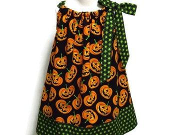 Girls Halloween Pillowcase Dress Pumpkin Black Green Polka Dot Size 6-12 month, 12-18 month, 18 - 24 month, 2 / 3, 4 / 5, 6 / 7, 8 / 9