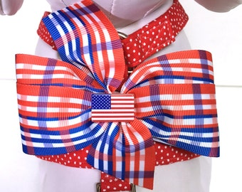 Dog Harness- The Red, White and Blue Plaid