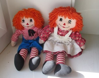 Vintage Handmade Raggedy Ann and Andy Dolls