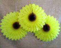 Hanging Tissue Fan XL Sunflower 1 Tissue Fan Rosette Hanging Pinwheels Fiesta Decoration Rainbow Decoration Table Backdrop Favors Cumpleaños
