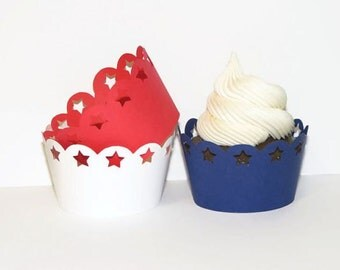 July 4th Cupcake Wraps Set of 24 Star Cupcake Wrappers Red White and Blue Cupcake Wraps 4th Of July Party Favors Fourth of July Tableware
