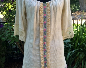 1968 Mini Dress Hippie Chic Prom Dress by Tres Gay of California