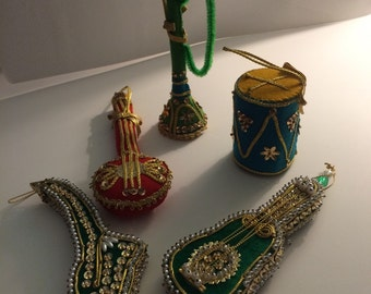 Vintage Christmas Ornaments Musical Instruments