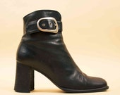90s does 60s Vtg Black Genuine LEATHER Buckle Detail Ankle Boots / Distressed Zip Up Chelsea MOD Minimalist Sleek / 6 Eu 36