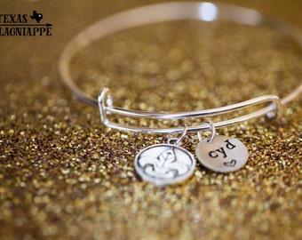 Personalized Fleur de Lis Charm Bracelet