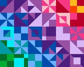 COLORWORKS Northcott FABRIC panel  cotton quilt fabric triangles squares rainbow colors cheater cloth quilt 20800-44