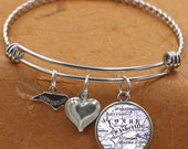 Asheville North Carolina Map NC State Charm Bangle Bracelet Personalized Custom Vintage Map Jewelry Stainless Steel Charm Bracelet