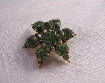 c1940's Green Rhinestone Pinwheel Flower Brooch
