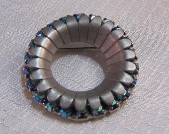 1960's Blue AB Circle Brooch, Modernist Design