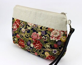 Wristlet Purse,Gift For Women, Clutch Purse,Peony Navy