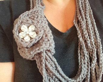 Trendy grey Necklace/scarf.