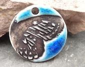 Flutter- handmade ceramic ombre blue butterfly wing pendant aqua blue 9289