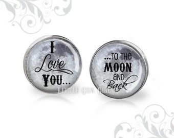 I love you to the Moon and Back Cuff Links - Father of the Bride Cufflinks - Groom Wedding Engagement Gift - Sterling Silver or Stainless