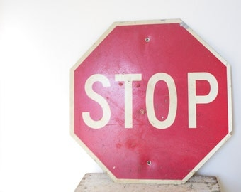Vintage Stop Traffic Sign - Stop Sign Chicago Parking Vintage Street Sign Vintage Road Sign